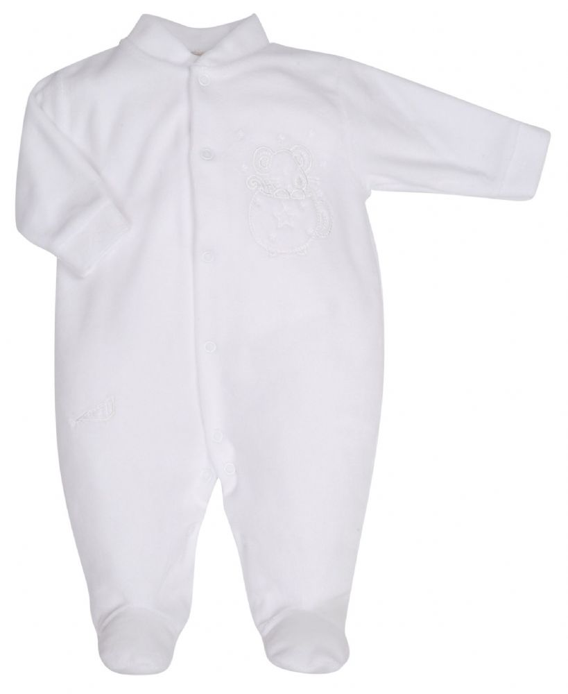 AV1202W  Mouse in Teacup Velour Sleepsuit